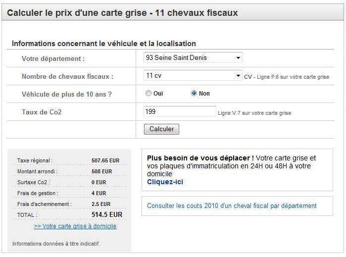 calculer le prix d une carte grise Calculer le prix d'une carte grise 2012   Discussion sur l