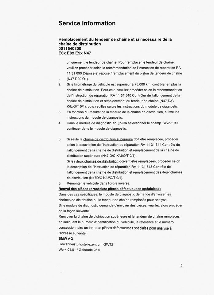 Chaîne de distribution BMW - moteur N47 - Défense de l ...