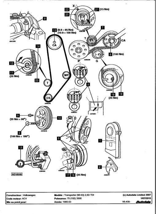 calage de distribution - volkswagen - lt - diesel