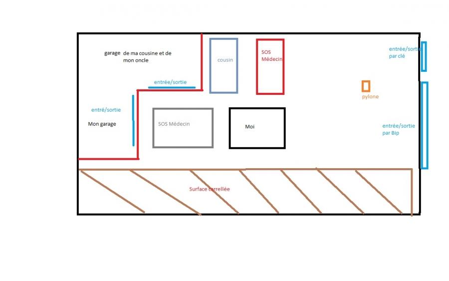 stationnement devant un garage dans un parking priv ferm stationnement auto evasion. Black Bedroom Furniture Sets. Home Design Ideas
