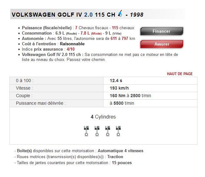 combien consomme d 39 essence une golf 4 2 0 essence boite auto volkswagen golf 4 essence. Black Bedroom Furniture Sets. Home Design Ideas