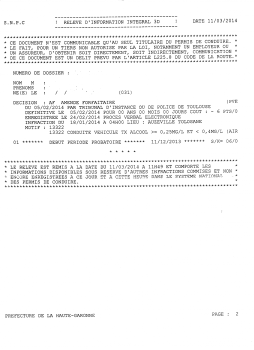 solde nul pour un permis probatoire 6 pts suite a une perte de 6 pts permis de conduire le. Black Bedroom Furniture Sets. Home Design Ideas