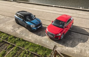 Mini Countryman bleu 2017 vs Audi Q2 rouge avant