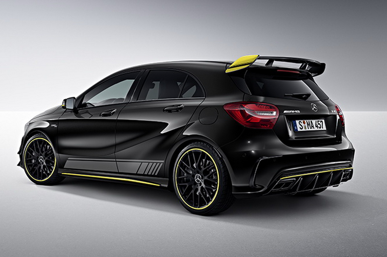mercedes a 45 amg et cla 45 amg s rie sp ciale yellow night edition photo 1 l 39 argus. Black Bedroom Furniture Sets. Home Design Ideas