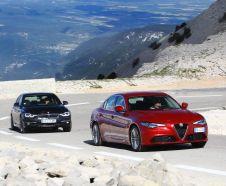 La nouvelle Alfa Giulia est ici à l'essai face à la référence BMW Série 3. Les prix dépassent les 45 000 € avec ces diesels puissants et finitions haut de gamme.