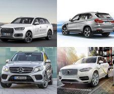 Audi Q7 e-tron quattro, BMW X5 xDrive 40e, Mercedes GLE 500 e 4Matic et Volvo XC 90 T8 Twin
