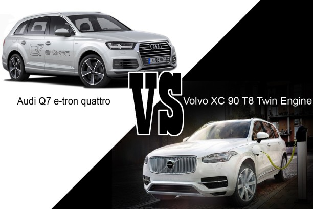 audi q7 e tron quattro vs volvo xc 90 t8 twin engine les. Black Bedroom Furniture Sets. Home Design Ideas