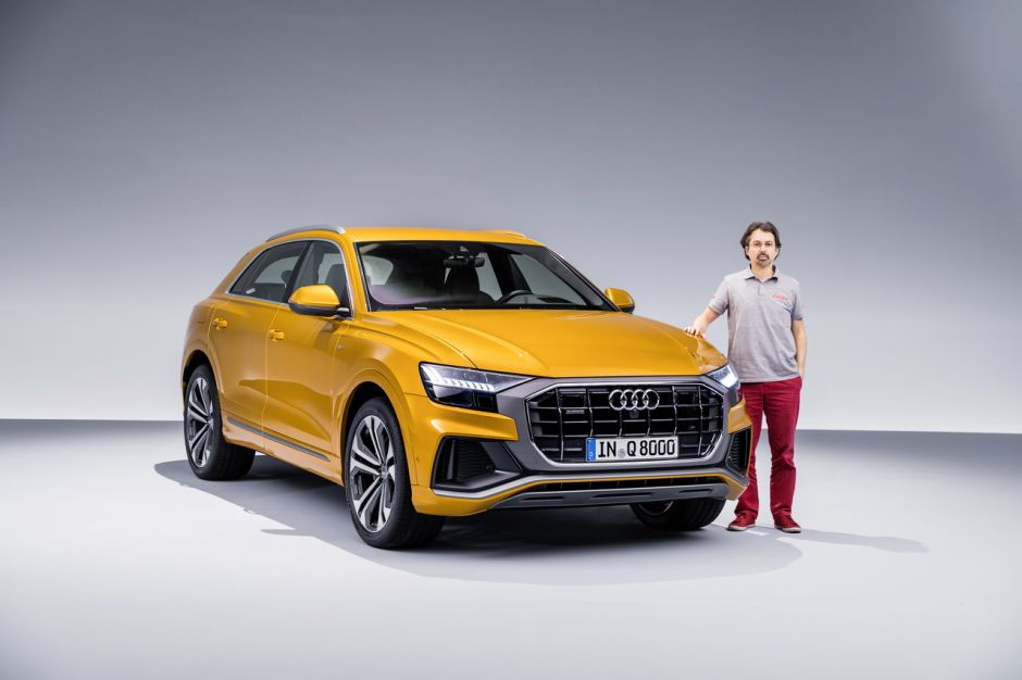 Audi Q8 orange 2018 vue avant journaliste Didier RIC Largus.fr