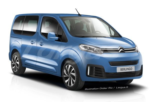 illustration futur Citroën Berlingo 3 2018 vue avant bleu
