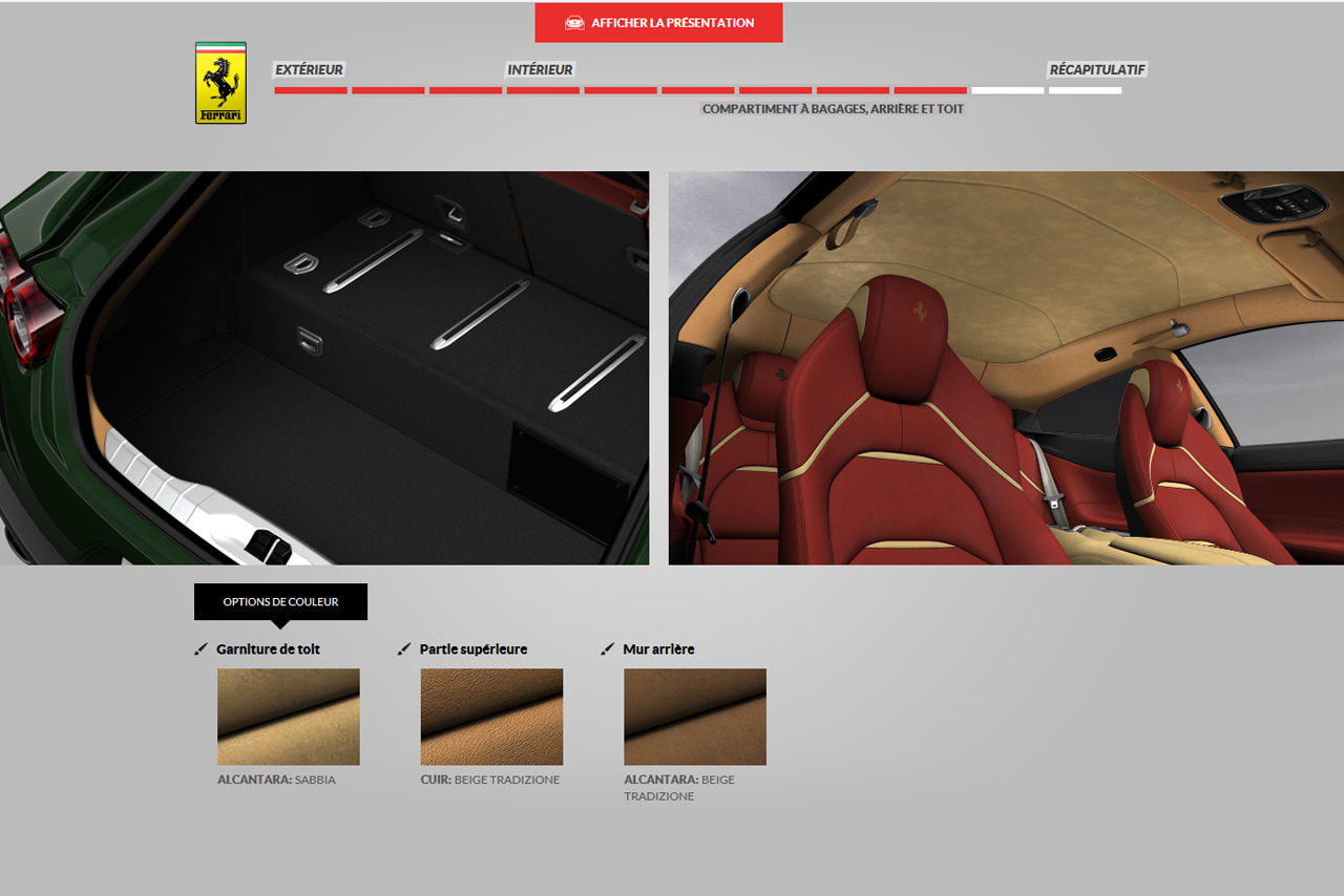 ferrari gtc4 lusso le configurateur est en ligne photo 1 l 39 argus. Black Bedroom Furniture Sets. Home Design Ideas