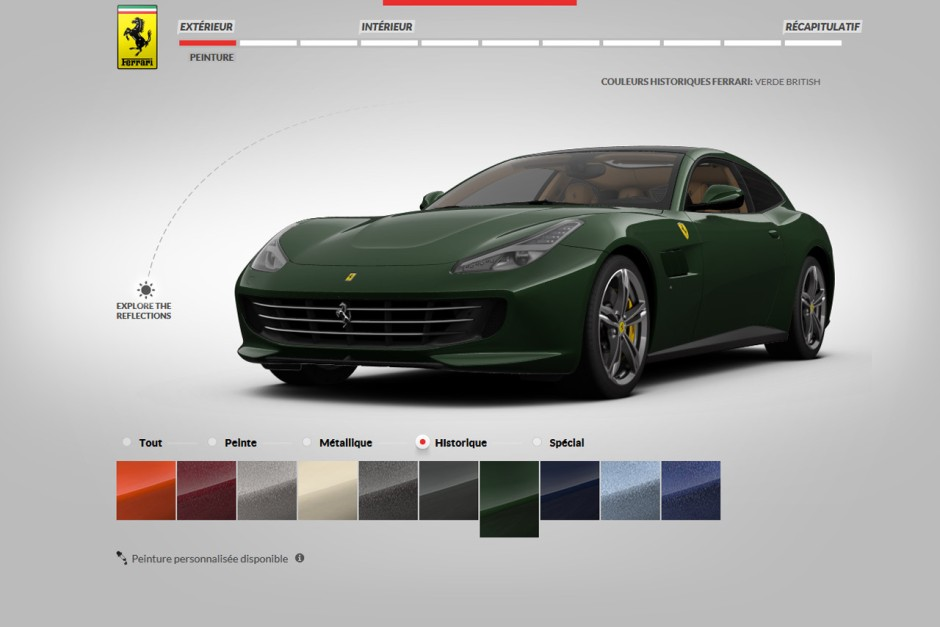 ferrari gtc4 lusso le configurateur est en ligne photo 2 l 39 argus. Black Bedroom Furniture Sets. Home Design Ideas
