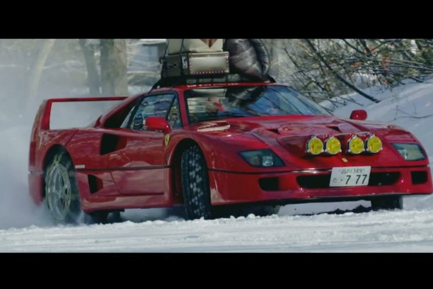 vid o il drifte sur la neige en ferrari f40 l 39 argus. Black Bedroom Furniture Sets. Home Design Ideas