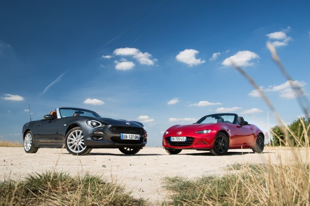 essai comparatif fiat 124 spider vs mazda mx 5 les s urs ennemies l 39 argus. Black Bedroom Furniture Sets. Home Design Ideas