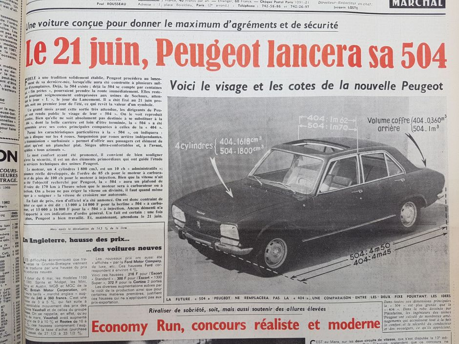 les petites histoires de la peugeot 504 lancement report l 39 argus. Black Bedroom Furniture Sets. Home Design Ideas