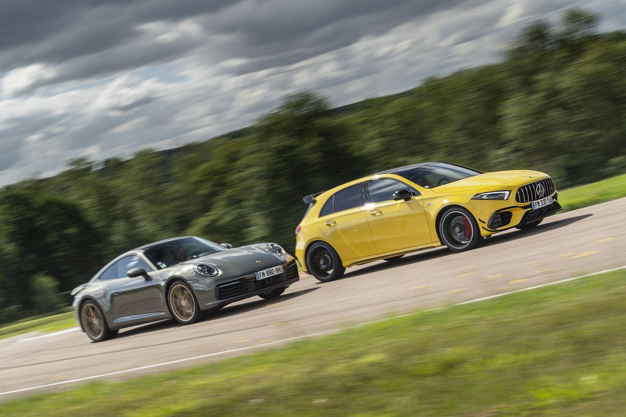 Mercedes-AMG Classe A 45 : plus forte qu'une Porsche 911 ? Le match !