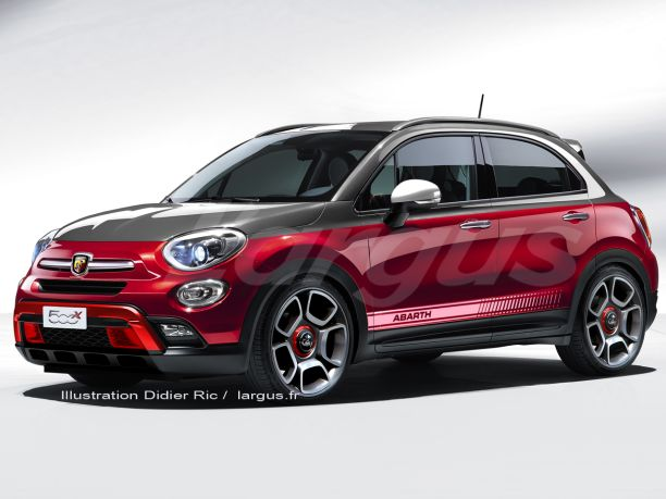 illustration photomontage future Abarth 500 X rouge et grise