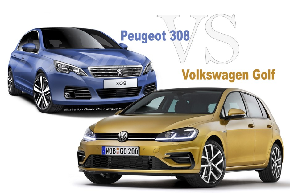 peugeot 308 vs volkswagen golf le match des versions restyl es photo 1 l 39 argus. Black Bedroom Furniture Sets. Home Design Ideas