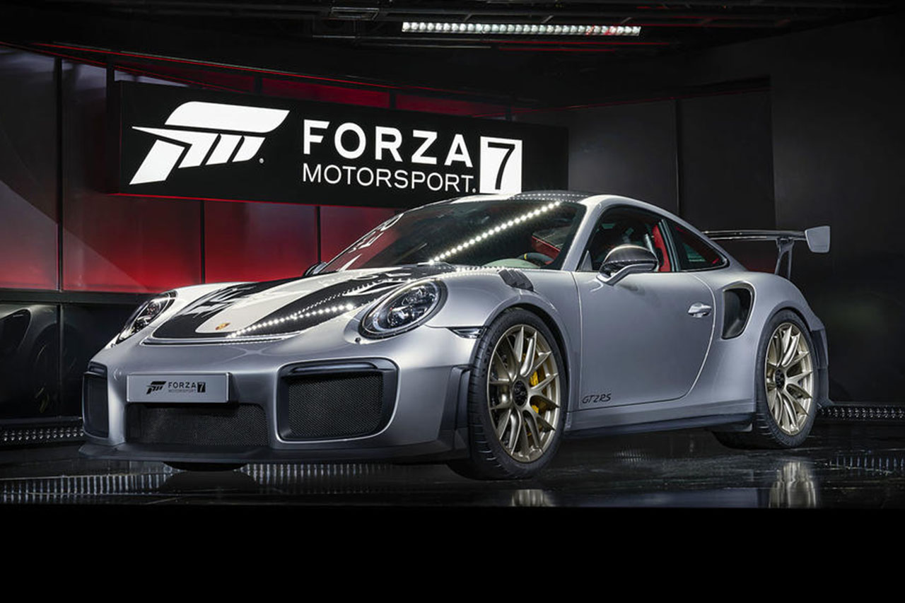 la porsche 911 gt2 rs r v l e l 39 e3 avec le jeu forza motorsport 7 photo 2 l 39 argus. Black Bedroom Furniture Sets. Home Design Ideas