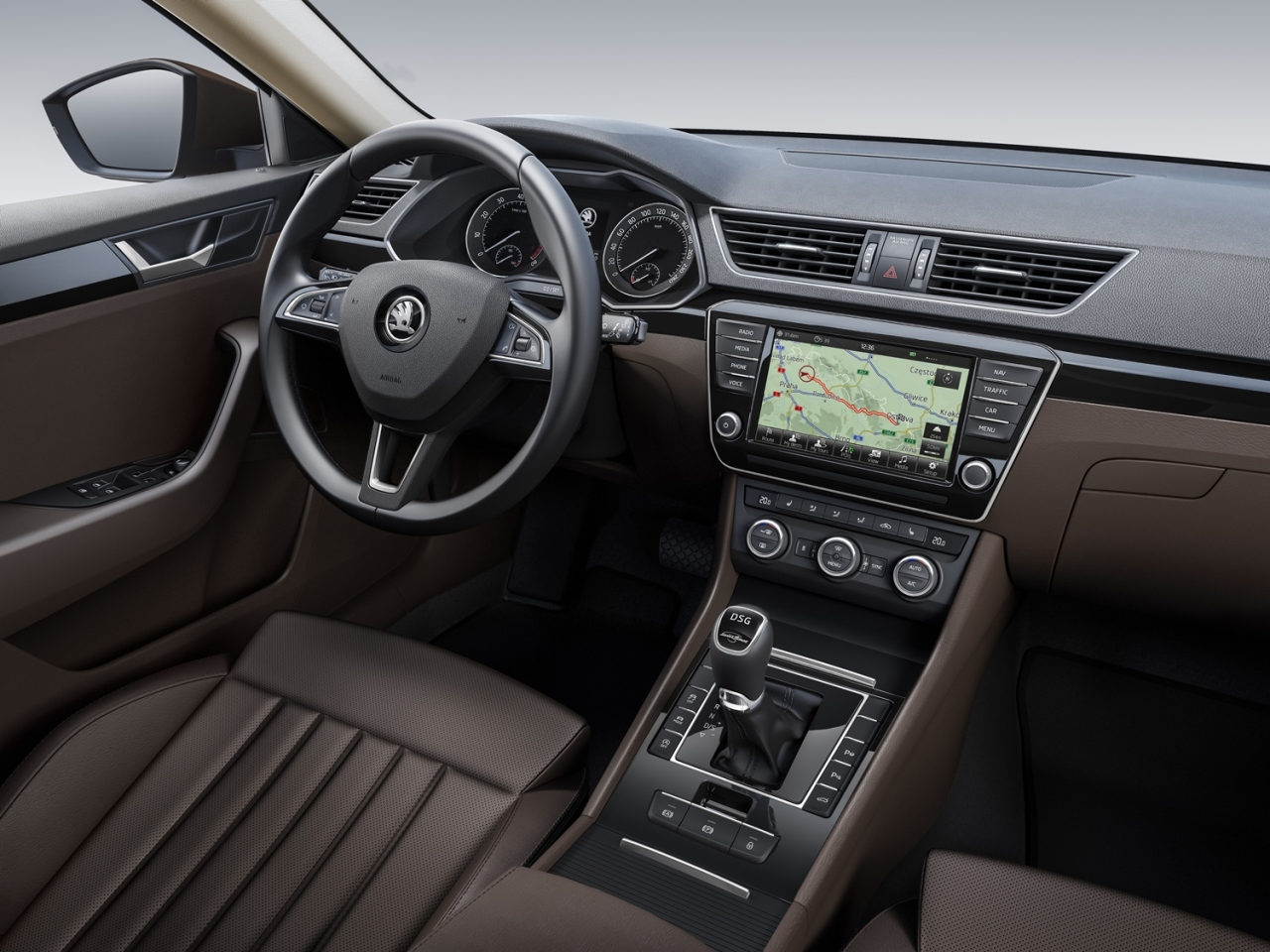 skoda superb 2015 voici l 39 int rieur l 39 argus. Black Bedroom Furniture Sets. Home Design Ideas