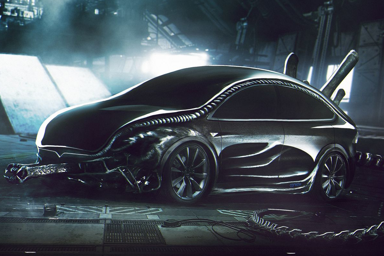 les voitures les plus effrayantes pour halloween tesla model x alien l 39 argus. Black Bedroom Furniture Sets. Home Design Ideas