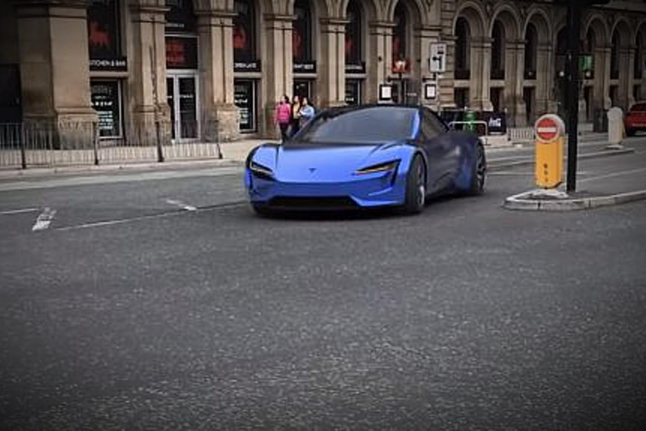 Le nouveau Tesla Roadster dans les rues de Londres... en vidéo 3D