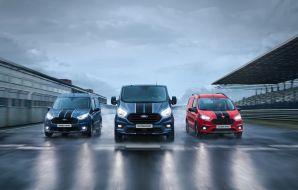 La série Ford Transit Sport version 2019. De gauche à droite : Connect, Custom et Courier