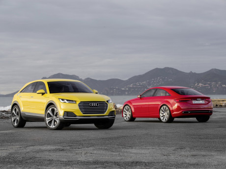 Audi TT offroad yellow front sight and Audi TT Sportback concept red rear view