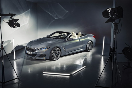 BMW 8 Series Convertible Gray Front View in the Detached Studio