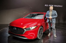 Mazda 3 (2019) front view red living room Los Angeles 2048