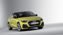 Rear view yellow Audi A1 Sportback 2018 in sutdio on white background