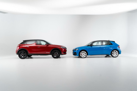 DS3 Crossback Performance Line Red Rubi and Audi A1 Sportback 2019 Blue Turbocharged profile views in studio on white background