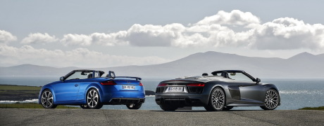 essai comparatif l 39 audi tt rs roadster d fie la r8 spyder l 39 argus. Black Bedroom Furniture Sets. Home Design Ideas