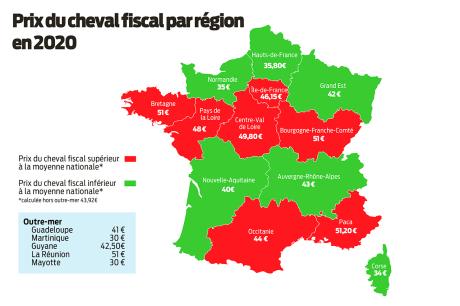 calcul carte grise 2020 Prix carte grise 2020 : le coût du cheval fiscal par région