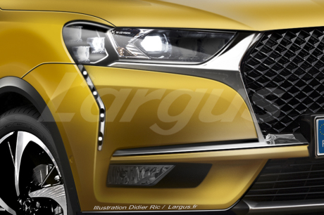 illustration photomontage futur DS3 Crossback 2019 vue phare jaune