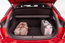 Audi A1 Sportback 2019 view of open trunk in studio on white background