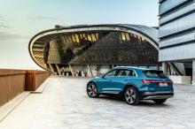 Audi e-tron blue static rear left