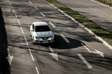 Gray action view of Renault Megane Zen from above