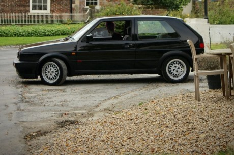 Rare.  A Volkswagen Golf 2 GTI with a … Tesla engine
