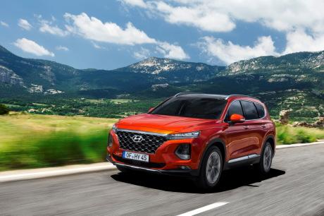 Hyundai Santa Fe 2019 orange front view