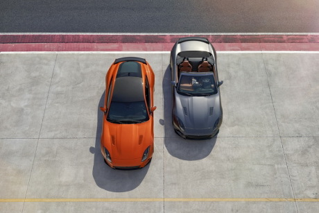 Jaguar F-Type SVR coupé orange cabriolet grise