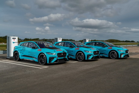 Jaguar I-Pace eTrophy Blue at three