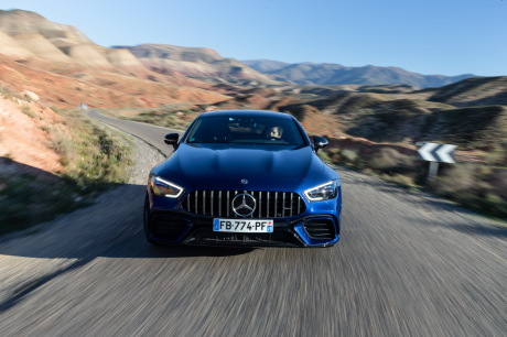 The Mercedes-AMG GT 63 S cuts 4 doors from the front