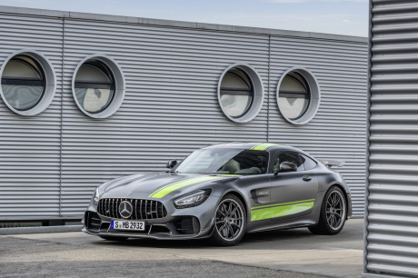 Mercedes-AMG GT R Pro gray front view with green stripes