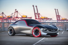 Opel GT Concept (2016) rear view in a factory