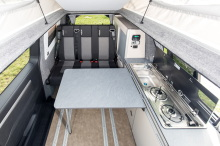 van equipped with kitchenette