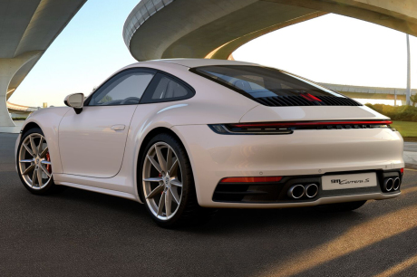 New Porsche 911 (992) 2019 rear view white