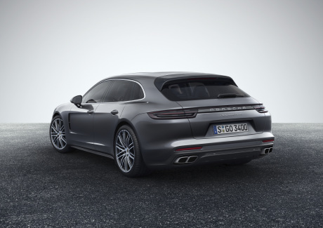illustration Porsche Panamera Sport Turismo version shooting brake break vue arrière couleur rouge