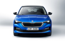 Blue Skoda Scala front view in studio on white background