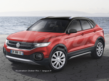 illustration future Volkswagen Polo SUV vue avant couleur rouge