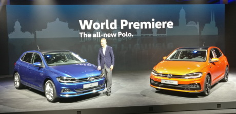 VW Polo 2018 orange et bleue